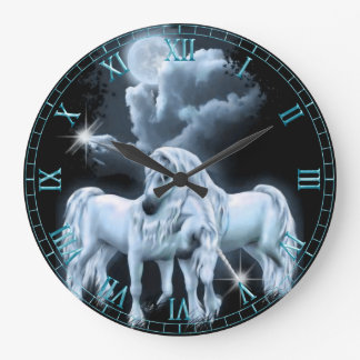 Unicorns in the Moonlight  Wall Clock