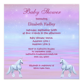 Unicorns Magical Fantasy Girls Baby Shower Card