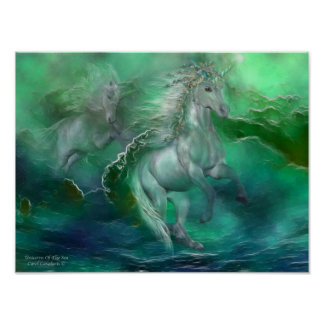 Unicorns Of The Sea Art Poster/Print Poster