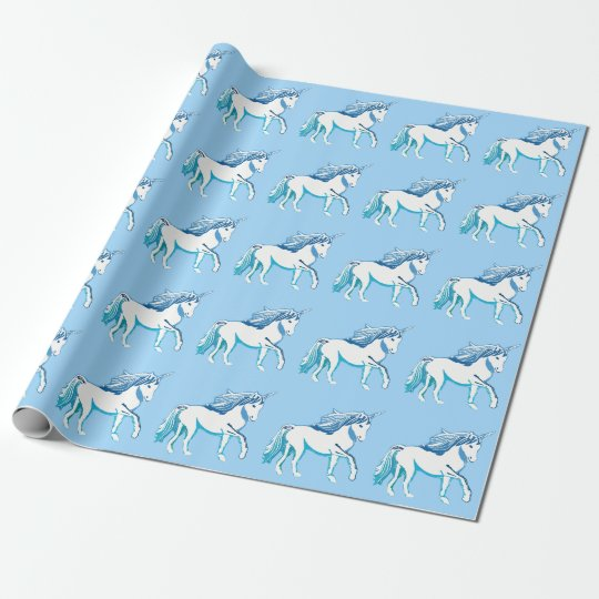 Unicorns Pattern Light Blue Wrapping Paper