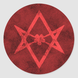 Unicursal Hexagram (Red Textured) Classic Round Sticker