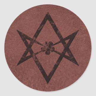 Unicursal Hexagram Thelemic Symbol on Red Leather Classic Round Sticker