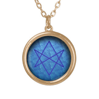 unicursal hexagram (water) gold plated necklace