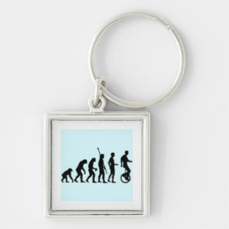 Unicycle Evolution Silver-Colored Square Keychain