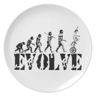 Unicycling Unicyclist Unicycle Evolution Sports Party Plates