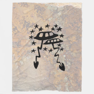 Unidentified Flying Object Petroglyph Fleece Blanket