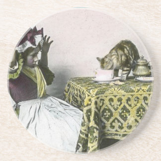 Uninvited Guest Bad Kitty Vintage Tea Party Girl Coaster