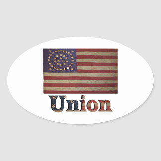 Union Army USA Civil War Flag Oval Sticker