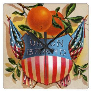 Union Brand Oranges, Citrus Crate Label Square Wall Clock