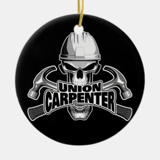 Union Carpenter: Skull and Hammers Ceramic Ornament