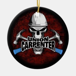 Union Carpenter Skull with Hammers Round Ceramic Ornament