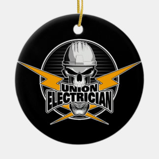 Union Electrician: Skull and Thunderbolts Round Ceramic Ornament