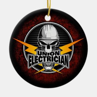 Union Electrician Skull Round Ceramic Ornament