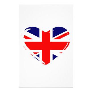 Union Flag Heart Customized Stationery