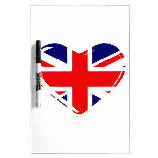 Union Flag Heart Dry Erase Boards