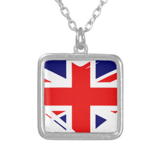 Union Flag Heart Silver Plated Necklace