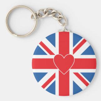 Union Flag/Jack Design & Heart Basic Round Button Keychain