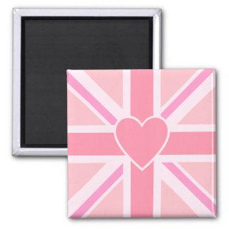 Union Flag/Jack Square Design & Heart Square Magnet
