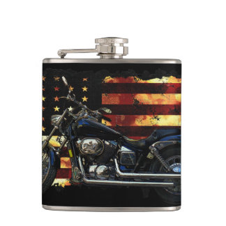 Union Flag, Stars and Stripes, Motorcycle, Hip Flask