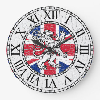 Union Jack and Lion Weathered Large Clock