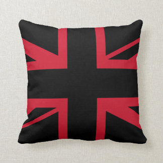 Union Jack ~ Black and Red Throw Pillow