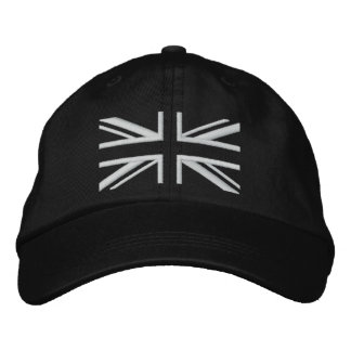 Union Jack ~ Black and White Embroidered Baseball Cap