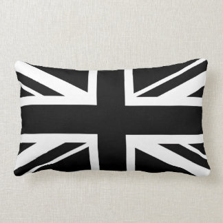 Union Jack ~ Black and White Lumbar Pillow