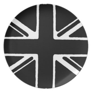 Union Jack black and white. Party Plates