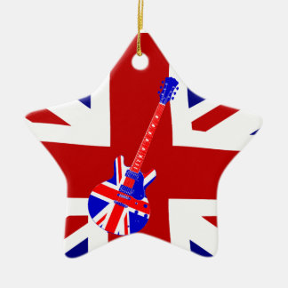 Union Jack British Guitar Star ornament pendant