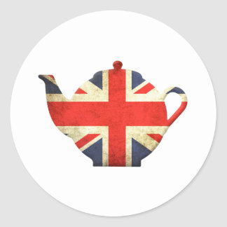 Union Jack British Teapot Classic Round Sticker