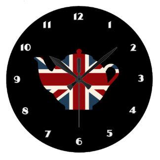 Union Jack British Teapot Large Clock