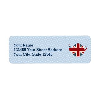 Union Jack British Teapot Return Address Label