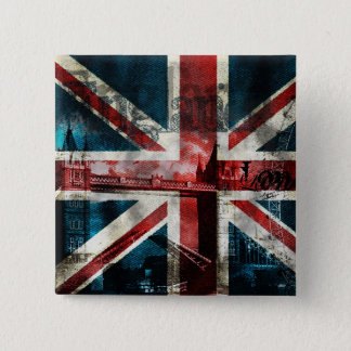 Union Jack Button/Badge 2 Inch Square Button