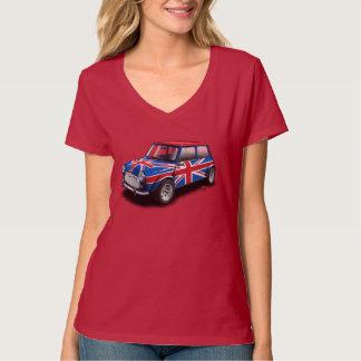 Union Jack Classic Mini Car on Ladies Red T-Shirt