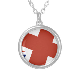 Union Jack Close Up Silver Plated Necklace