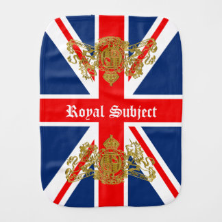 Union Jack & Coat of Arms British Royal Subject Burp Cloth
