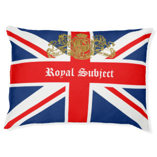 Union Jack & Coat of Arms British Royal Subject Large Dog Bed