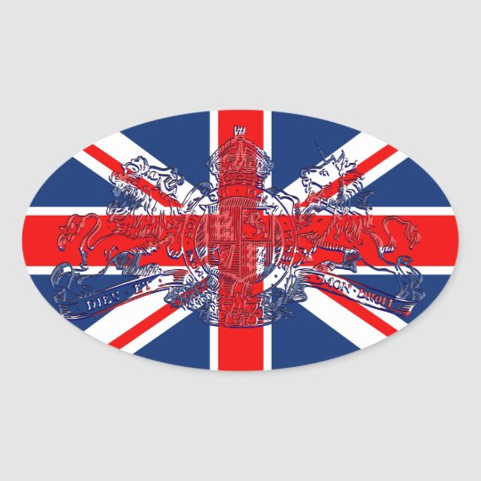 Union Jack Dieu et Mon Droit British Coat of Arms Oval Sticker
