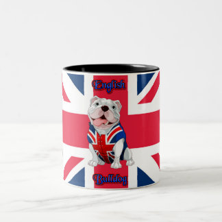 Union Jack English Bulldog Two-Tone Coffee Mug