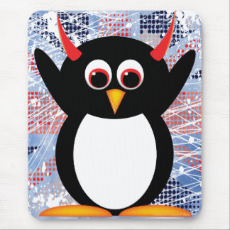Union Jack Evil Penguin Mouse Pad