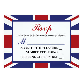 Union Jack Flag British Wedding RSVP Card