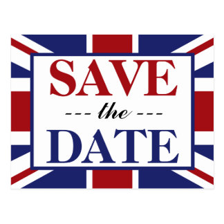 Union Jack Flag British Wedding Save The Date Postcard