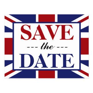Union Jack Flag British Wedding Save The Date Postcard