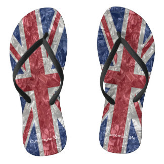 Union Jack Flag - Crinkled Flip Flops