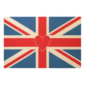 Union Jack/Flag & Heart Wood Prints