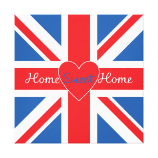 Union Jack Flag, Home Sweet Home & Heart Stretched Canvas Print