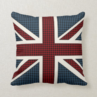 Union Jack Flag Houndstooth Throw Pillow
