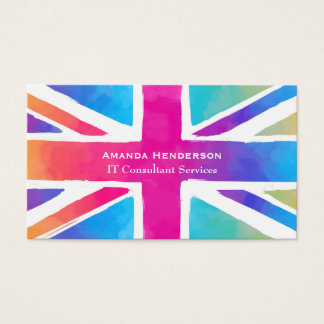 Union Jack Flag in Bright Watercolors Business Card