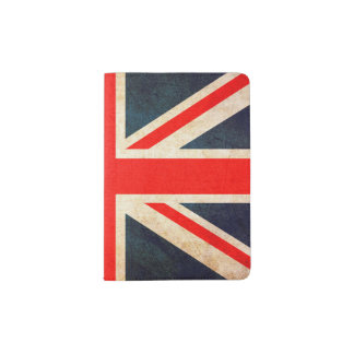 Union Jack Flag in Grunge Passport Holder