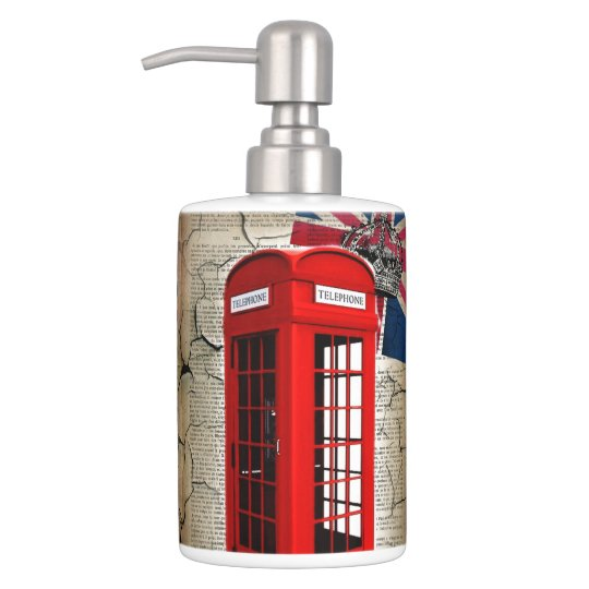 union jack flag jubilee crown red telephone booth soap dispenser and toothbrush holder